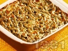 Рецепта Печен зелен фасул / зелен боб от консерва или буркан с ориз и пармезан в тава на фурна